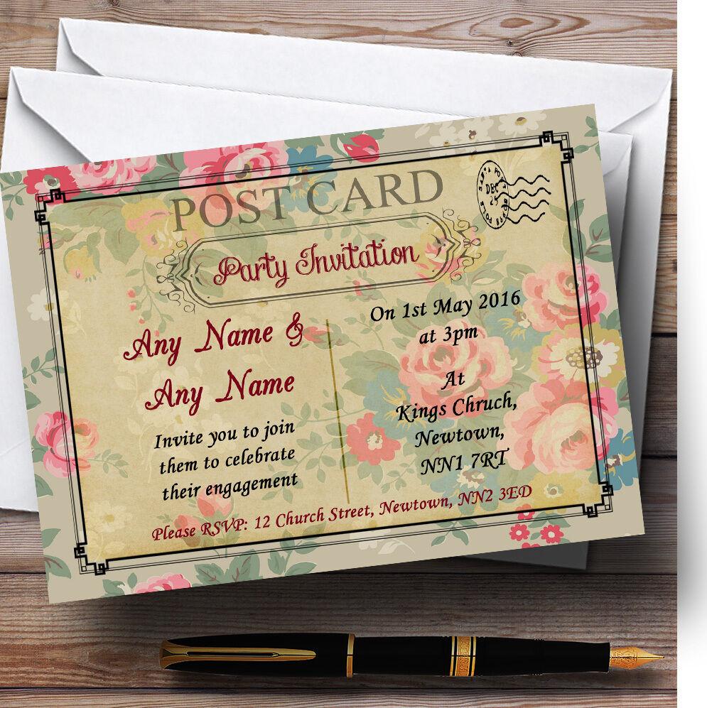 Floral Paris Postcard Personalised Engagement Party Invitations