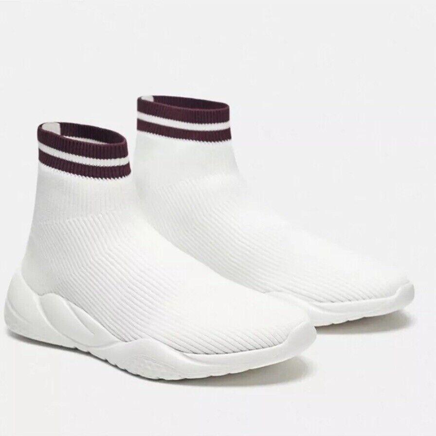 Zara White High Top Sock Sneakers Size 8 New 7852 301