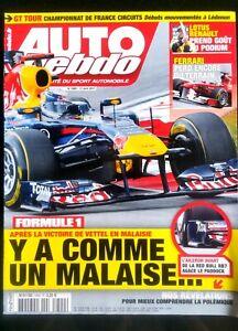 Auto Hebdo Du 13/04/2011; Gt Tour/ Malaise Vettel En Malaisie/ Lotus Renault