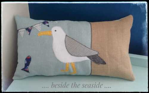 Grand Nautique Coussin Plage Seagull Seaside Bird Duck Egg John Lewis Fabric