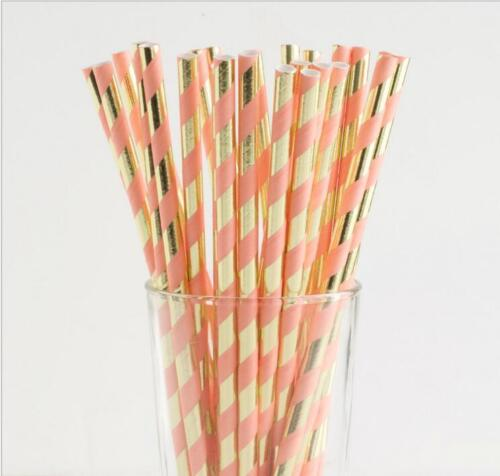 25pcs Disposable Paper Drinking Straws  Shiny Gold Foil and Stripe Paper Straws