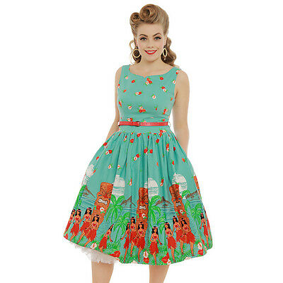 Lindy Bop Delta Teal Tiki Swing Dress 50s Rockabilly PinUp Plus Hula Size 8 - 22