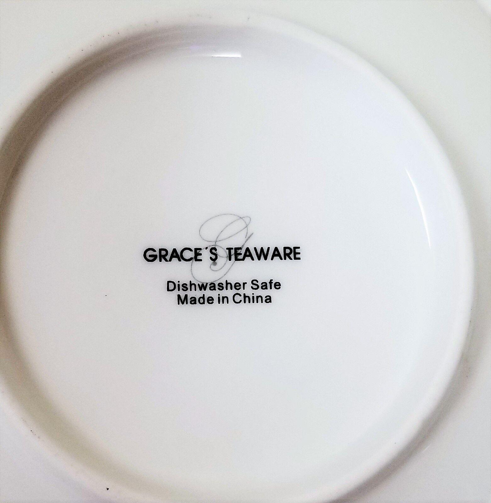 Neu GRACE'S TEAWARE 8 St.Set St.Set St.Set Weiß+Rosa Blaumen Gold Akzent 4 Teetasse + 4 a74c8e