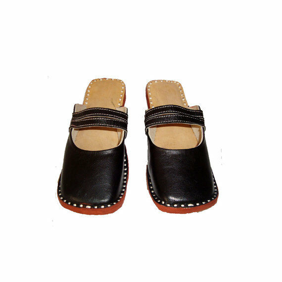 Black Leather Women With Strap Handmade Mule Women Leather Winter Leather shoes Sandal Slipper fae698