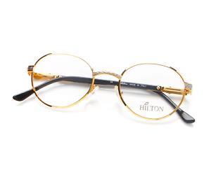 Vintage-Hilton-MONACO-303-1-24Kt-Gold-Round-Eyeglasses-Eyewear-Optical-Lunettes