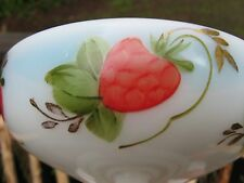 Antique MILK GLASS Raspberry Compote~Summer Fruit Dish! Hand Painted folk ART~