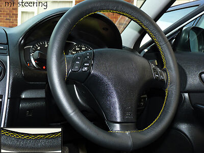 FITS MAZDA MX5 1990-2005 BLACK REAL LEATHER STEERING WHEEL COVER YELLOW STITCH