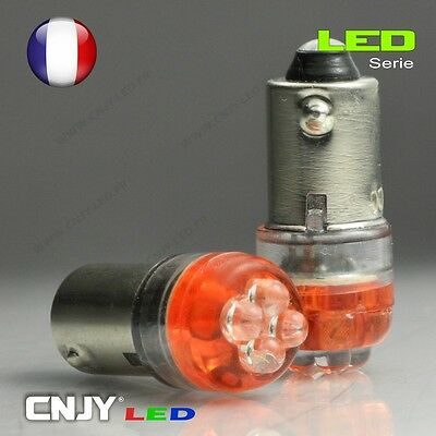 2 AMPOULES CNJY 4 LED RONDE CULOT BAX9S H6W 434 VERT HID XENON AUTO MOTO 12V