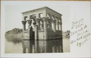 Egypt 1915 Realphoto Postcard: Temple of Isis, Island of Philae on the Nile - 1