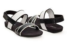 NEW Authentic TOMS Tierra Sandals, Black & White Leather, Women Size 5  NIB