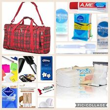 Red check pre-packed hospital/maternity bag Essentials for Mum & Baby