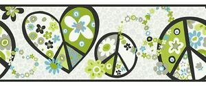 Retro-Love-amp-Peace-Signs-in-Lime-Green-amp-Blue-York-Wallpaper-Border-PW3916B