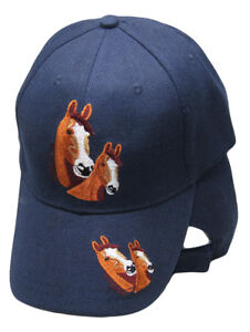 Horses-Horse-Head-s-Navy-Blue-Embroidered-Cap-Hat-RAM