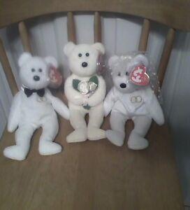 Ty beanie babies Mr., Mrs. & Dear One - wedding - 3 white bear beanies - new
