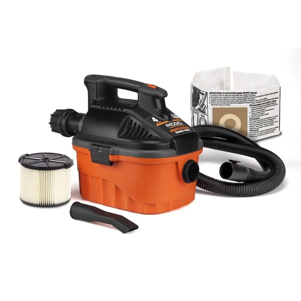 RIDGID Wet Dry Vacuum Portable 4 Gal 5.0-Peak HP Motor 20 Ft Long Power Cord New