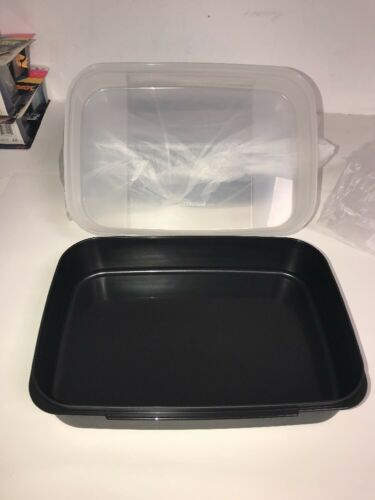 NEW Tupperware Storz-a-lot Container Black Bottom Hinged Storage