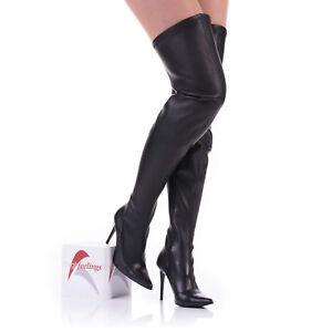 Details zu Damen Overknee Stiefel Stretch Nappaleder Schwarz 10 13 cm Absatz EUR 36 46