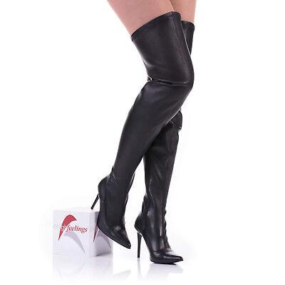 Damen Overknee Stiefel Stretch Nappaleder Schwarz 10 13 cm Absatz EUR 36 46   eBay