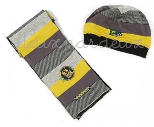 NWT Deux par Deux cotton Taxi Scarf and Hat Set for baby boys 18//24M 2//3y  A15