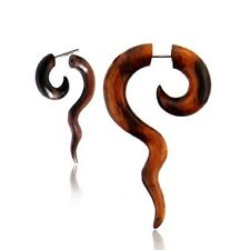 PAIR TRIBAL SONO WOOD FAKE EXPANDER CHEATER 16g SPIRAL PLUGS GAUGES GAUGE PLUG