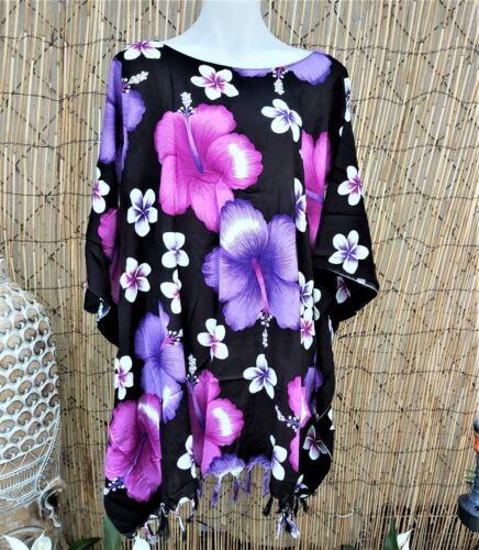 Plus Size Polynesian Floral Purple /& Black Tunic//Top One Size 18-20-22-24-26
