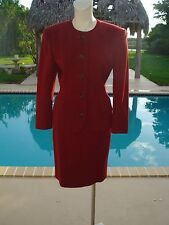JIL SANDERS RED WOOL BELTED DETAIL SKIRT 5 BUTTON .FRONT JACKET SKIRTSUIT Sz 36