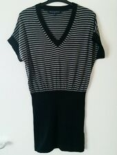 French Connection knitted dress size M grey black stripes New