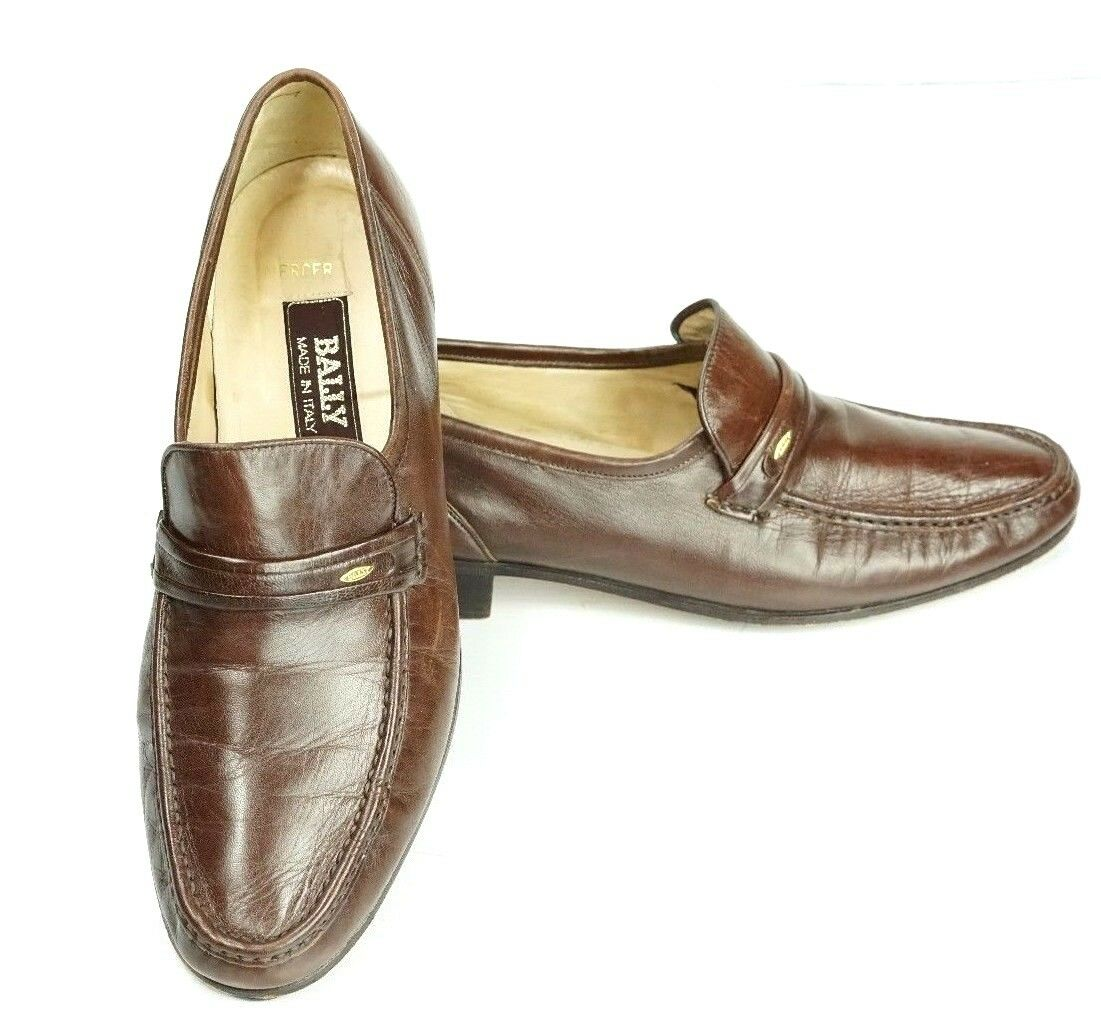 BALLY Mercer Made in  shoes Soft Brown Calfskin Slip On Loafer Size 8.5 M