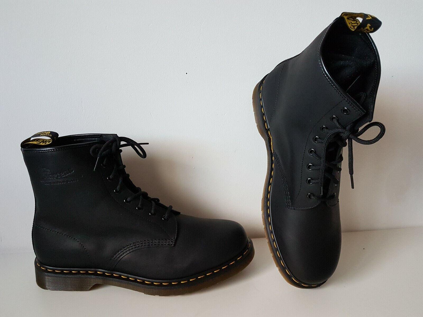 UK 13 EU 48 US 14 Dr. Martens 1460 black Boots 8 eye leather greasy