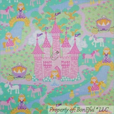 Boneful Fabric Fq Cotton Quilt Baby Girl Princess Scenic Castle Horse Unicorn Nr Ebay