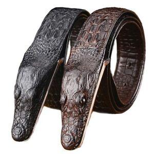 Alligator Crocodile Head Style Cowhide Buckle Men/'s Belts Real Genuine Leather