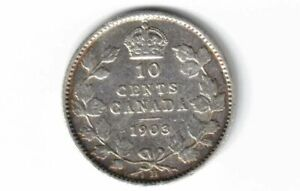 CANADA-1903H-10-CENTS-DIME-KING-EDWARD-VII-STERLING-SILVER-CANADIAN-COIN