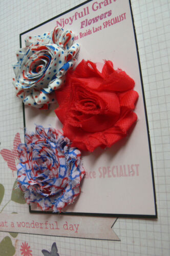RED WHITE /& ROYAL BLUE Fabric Organza Satin 3 Flower Pk 60-65mm Njoyfull CraftsT