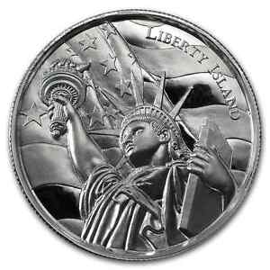 2-OZ-PURE-999-SILVER-ROUND-LIBERTY-ISLAND-ULTRA-HIGH-RELIEF-66-88-BUY
