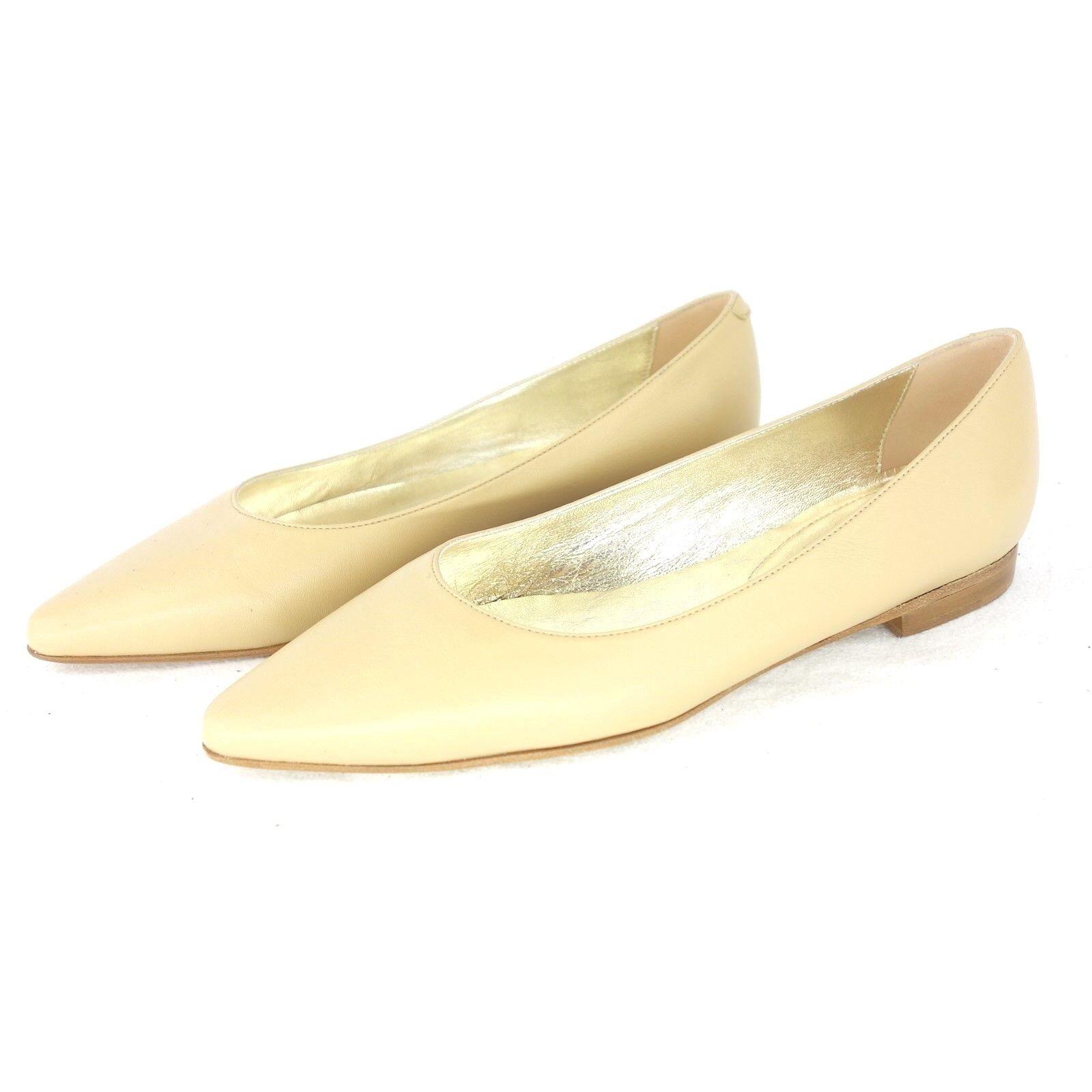 Caiman Ballerines pour Femmes Escarpins Chaussures Plates 37 38 41 Cuir Beige Np