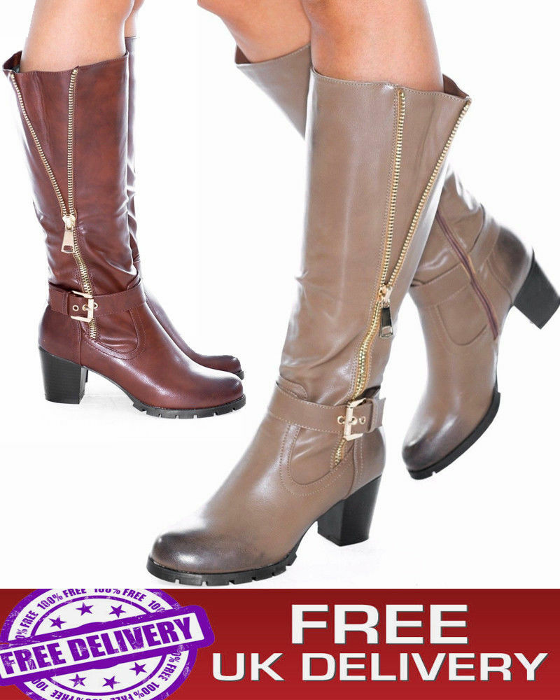 Women's Ladies Knee High Faux Leather Mid Calf Block  Heel Zip Up Boots Shoes