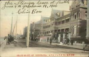 Yokohama-Japan-Grand-Hotel-amp-Street-Scene-1906-Hand-Colored-Postcard
