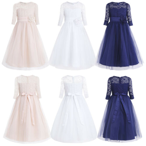 Lace Flower Girl Dress Kids Baby Party Wedding Bridesmaid Gown Prom Formal Dress