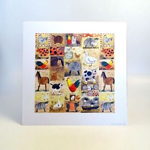 Farm-Animals-Print-Unframed-Alex-Clark-Artist-NEW-Kids-Room-Art-Cow-Cat-Duck