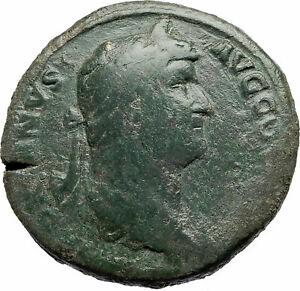 HADRIAN-134AD-Rome-Big-Sestertius-Authentic-Ancient-Roman-Coin-Fortuna-i76181