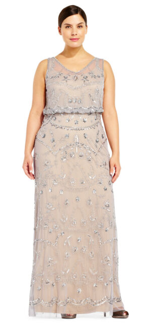 Adrianna Papell Silver Grey/Nude Sleeveless Beaded Blouson Gown  Plus  16W