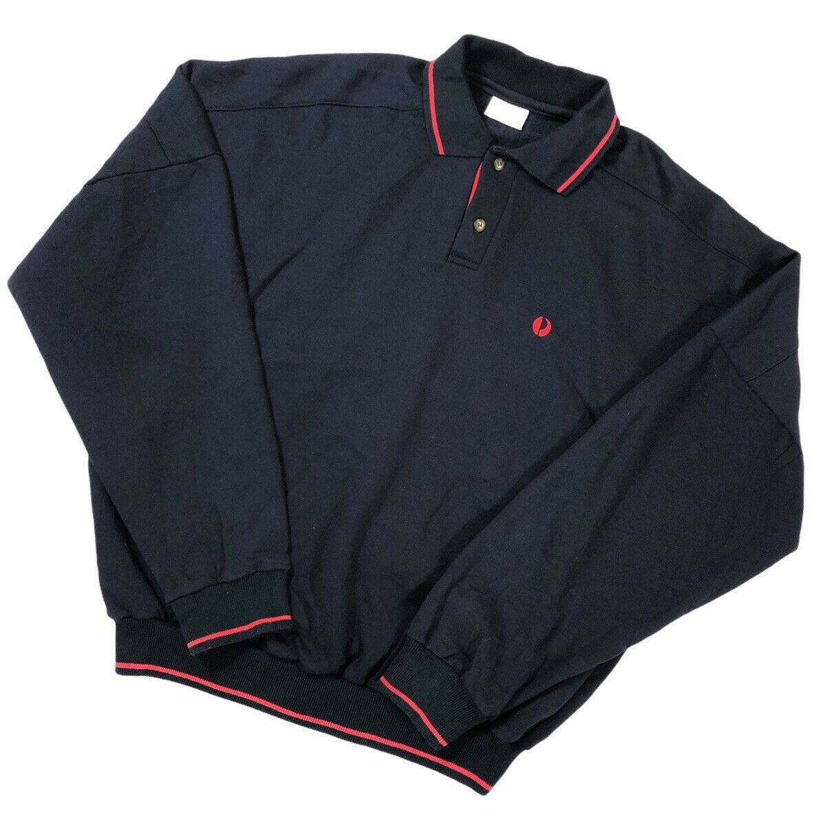 Vintage 90s Retro Red Navy Polo Sweatshirt Collared Jumper Pullover Mens Womens
