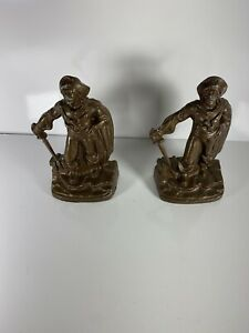 Pair-of-Antique-PIRATE-Bookends-Standing-w-Sword