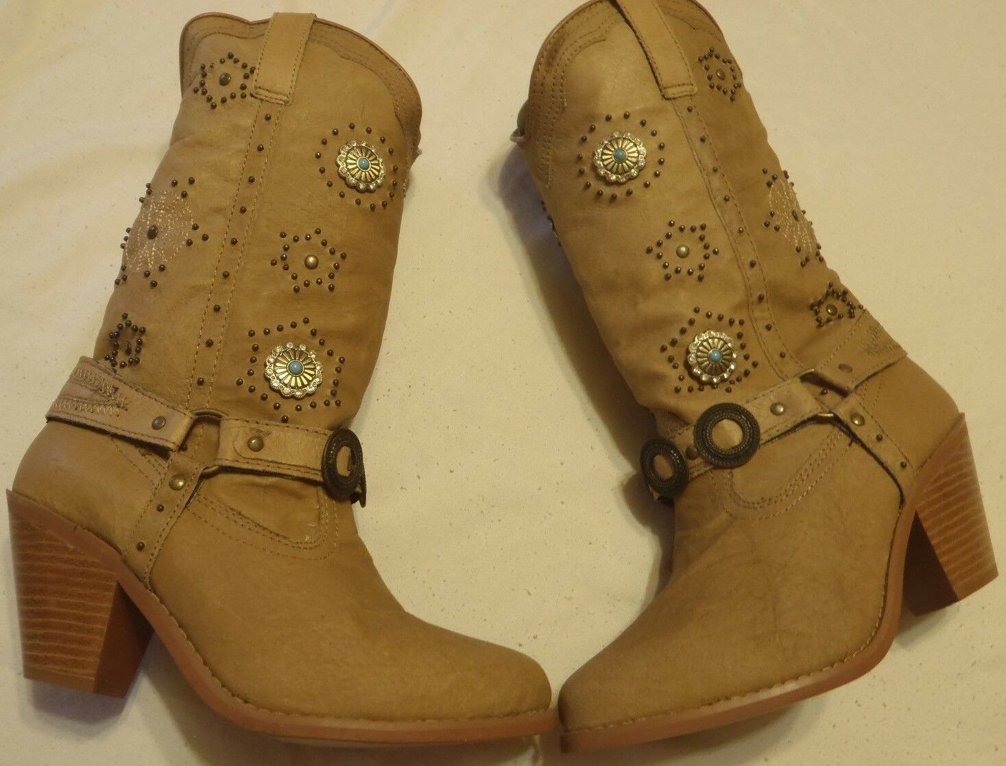 Dingo DI 566 Boots Women's Size 6 1 2 2 2  Tan Leather Western Fashion Dancer Boots 381f95