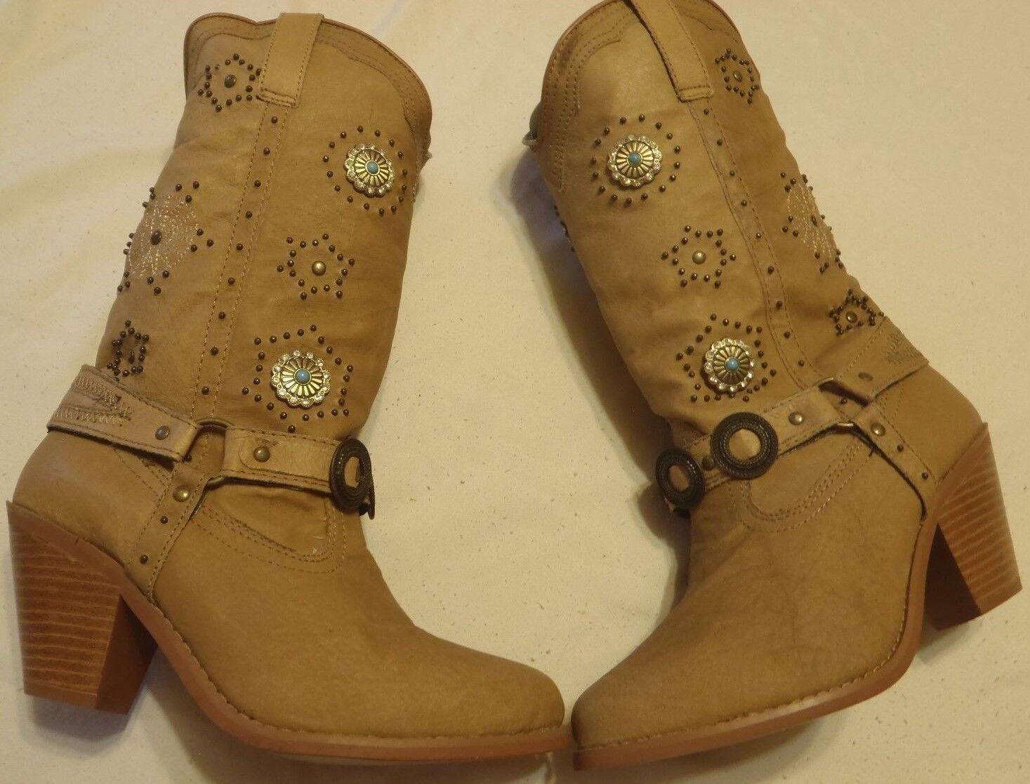 Dingo DI 566 Boots Women's Size 6 1 2 2 2  Tan Leather Western Fashion Dancer Boots e18a66