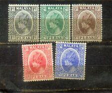 1935-37 Malaya Malaysia Perak 5  Old Stamps MH CV Rm 59