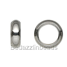 10 Surgical Stainless Steel Silver Rondelle European Spacer Beads w/ Big Hole