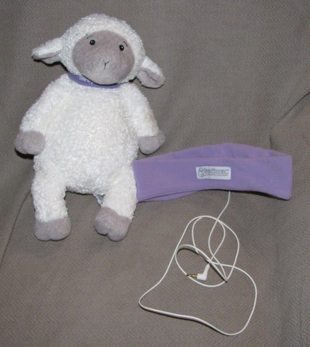 SLEEPPHONES SLEEP PHONES EAR LAVENDER lila FLEECE LAMB SHEEP STUFFED PLUSH