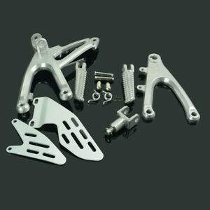 Silver-Front-Rider-Foot-Pegs-Pedals-Footrest-Bracket-Set-For-Yamaha-YZF-R1-07-08