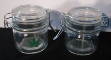 "STASH JAR Airtight Smell Proof LOWBOY THICK GLASS Herb Emblem 3"" 420 Friendly"